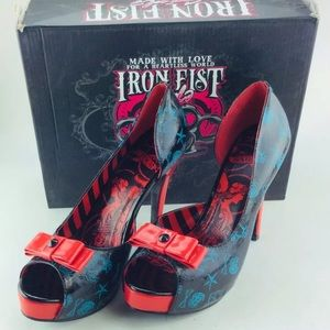 Iron first peep toe heels